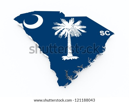south carolina state flag on 3d map - stock photo