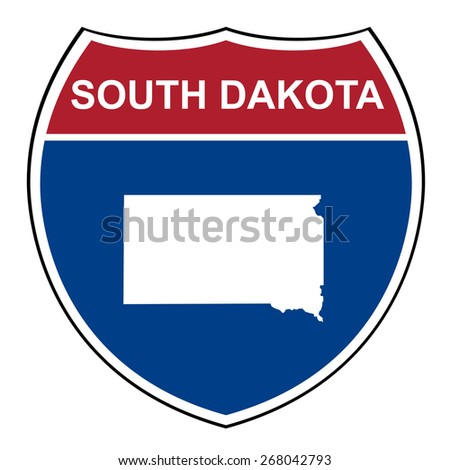 South Dakota American interstate highway road shield isolated on a white background. - stock photo