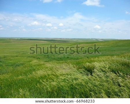 South Dakota Plains with Sky Horizontal - stock photo