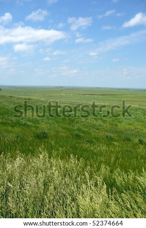 South Dakota Plains with Sky Vertical - stock photo