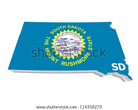 south dakota state flag on 3d map - stock photo