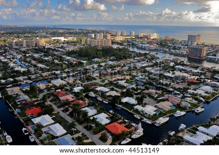 south florida intracoastal waterway community and atlantic ocean, aerial view - stock photo
