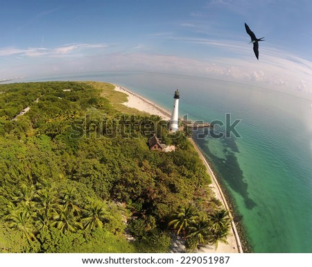 South Florida lighthouse seen from birds eye view - stock photo