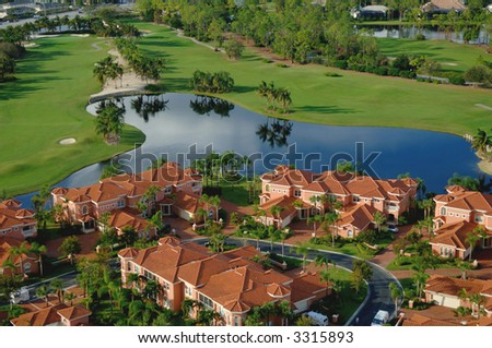 south florida luxury golf community - stock photo