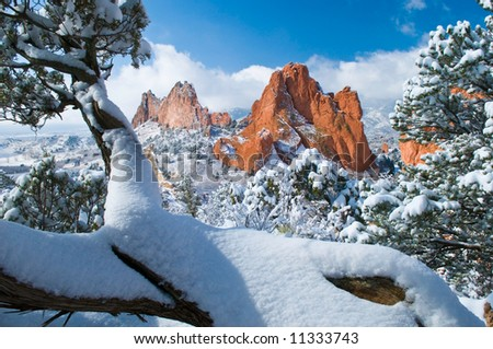 South Gateway Rock Formations at the Garden of the Gods Park in Colorado Springs, Colorado after a fresh snowfall - stock photo