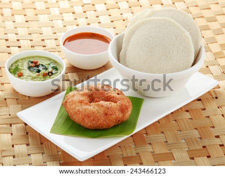South Indian dish  idly ,vada and sambar - stock photo