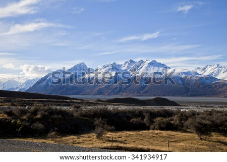 South Island Landscape Scenery, Canterbury, New Zealand - stock photo