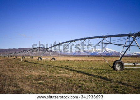 South Island Landscape Scenery with irrigation, Canterbury, New Zealand - stock photo