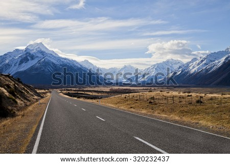 South Island road trip photo. Central Otago and Canterbury, New Zealand - stock photo