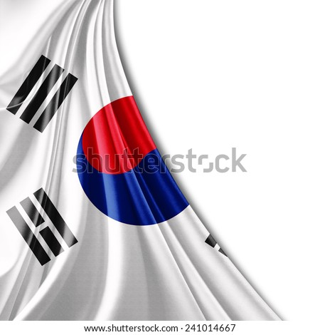 south korea flag and white background - stock photo