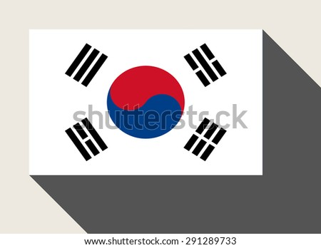 South Korea flag in flat web design style. - stock photo