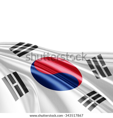 south korea flag of silk with copyspace for your text or images and white background - stock photo