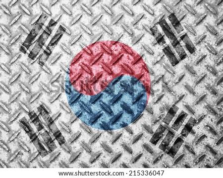 South Korea flag on grunge wall - stock photo