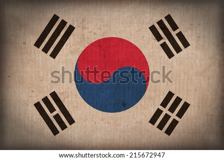 South Korea flag pattern on the fabric texture ,retro vintage style - stock photo