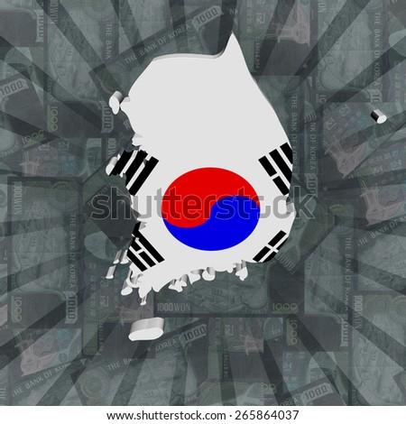 South Korea map flag on Won sunburst illustration - stock photo
