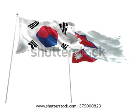 South Korea & Nepal Flags are waving on the isolated white background - stock photo