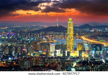 South Korea skyline of Seoul, The best view of South Korea with Lotte world mall at Namhansanseong Fortress. - stock photo