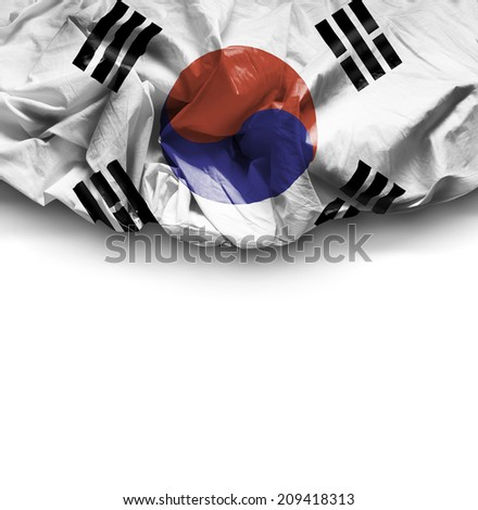 South Korea waving flag on white background - stock photo