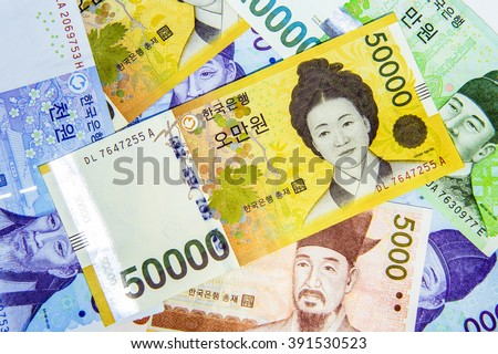 South Korean Won Currency. - stock photo