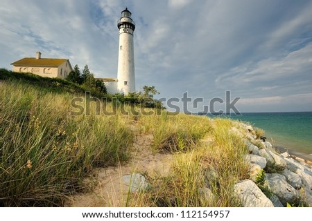 South Manitou Island Lighthouse, Sleeping Bear Dunes National Lakeshore. Michigan, USA - stock photo