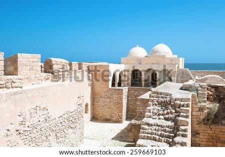 South of Tunisia, Djerba,the Turkish fortress Ghazi Mustapha - stock photo