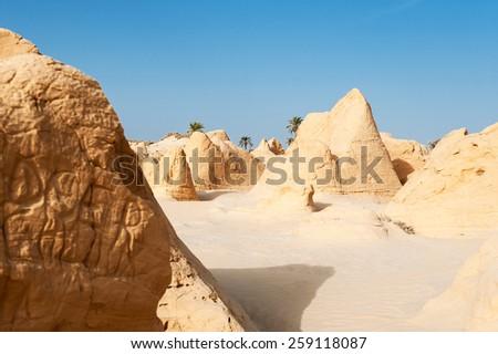 South of Tunisia, Shara desert,the petrified dune of Debebcha - stock photo