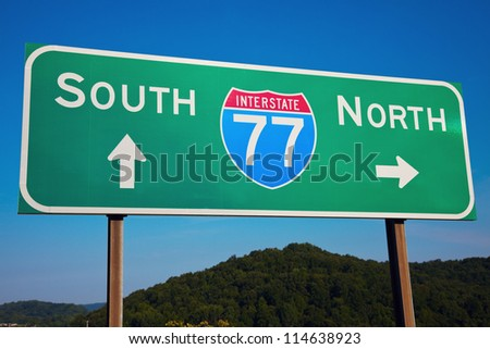 South or North? Highway 77 seen in Ohio, Cleveland area. - stock photo