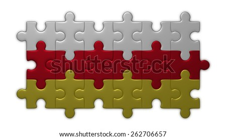 South Ossetia flag assembled of puzzle pieces isolated on white background - stock photo