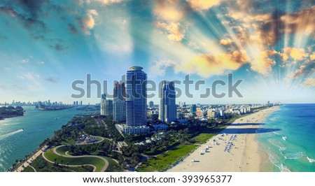 South Pointe Park and Coast - Aerial view of Miami Beach, Florida. - stock photo