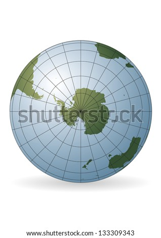 South Pole map. Antarctica, Australia, America, Africa. - stock photo