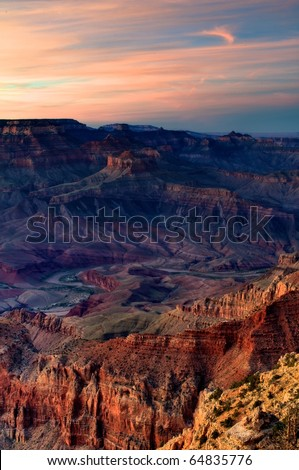 south rim grand canyon from lipan point at sunset - stock photo