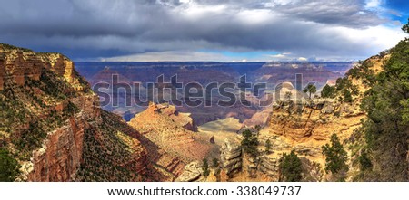 South Rim of Grand Canyon National Park with cloudscape - stock photo
