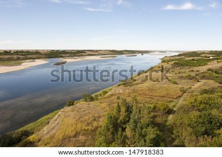 South Saskatchewan River in Outlook, Saskatchewan Canada - stock photo
