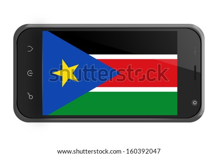 South Sudan flag on smartphone screen isolated on white - stock photo