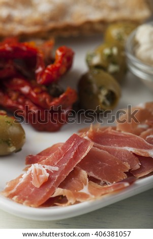 south tirol toerggelen ham speciality  - stock photo