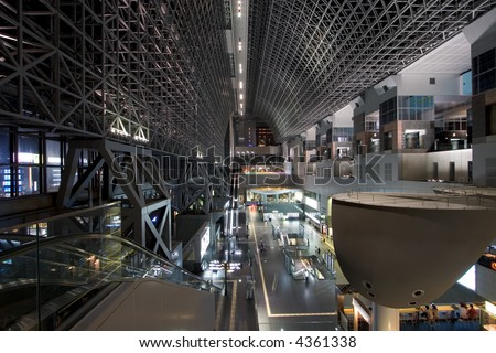 South View of Kyoto Station Interior at Night. Japan. - stock photo
