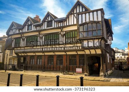 Southampton, Hampshire, England - Circa November, 2012: Tudor House and Garden, historic, grade 1 listed building in Southampton. - stock photo