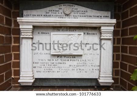 Southampton Titanic musicians memorial - stock photo