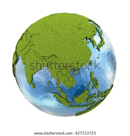 Southeast Asia on 3D model of planet Earth with grassy continents with embossed countries and blue ocean. 3D illustration isolated on white background. - stock photo