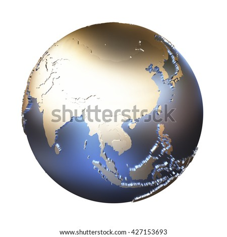 Southeast Asia on elegant metallic model of planet Earth with blue ocean and shiny embossed continents with visible country borders. 3D illustration isolated on white background. - stock photo