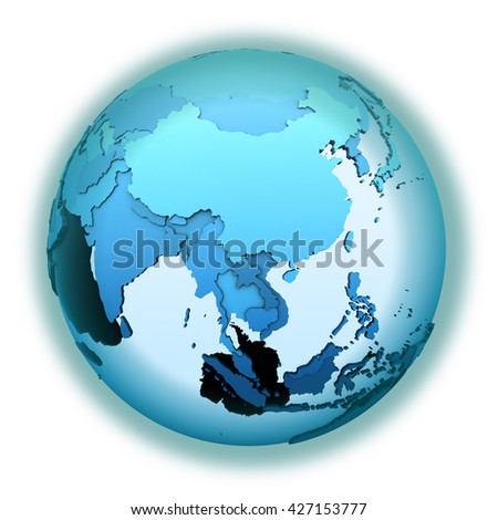 Southeast Asia on translucent model of planet Earth with visible continents blue shaded countries. 3D illustration isolated on white background. - stock photo