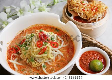 Southeast Asian noodles dish Laksa - stock photo