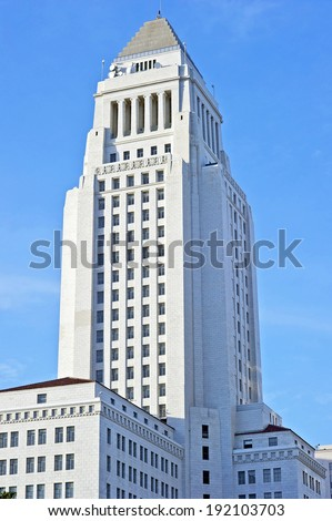 Southeast View of Los Angeles City Hall  - stock photo
