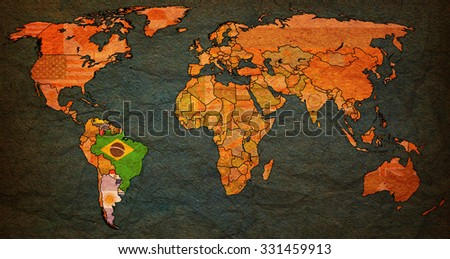 Southern Common Market on world map with national borders - stock photo