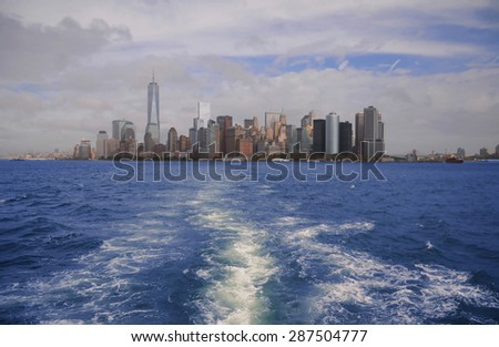 Southern Manhattan from the Hudson river, New York - stock photo
