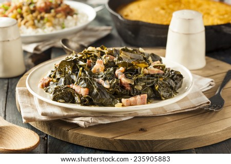Southern Style Collard Greens with Salt Pork - stock photo
