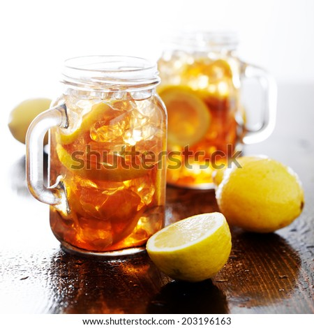 southern sweet tea in a rustic jar - stock photo