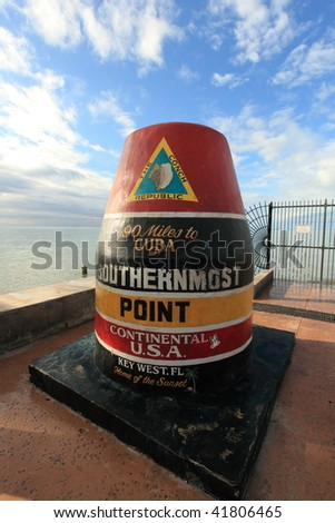 Southernmost point in Key West, FL, USA - stock photo