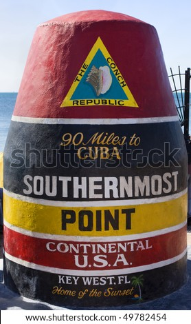Southernmost Point of Continental USA, Key West - stock photo