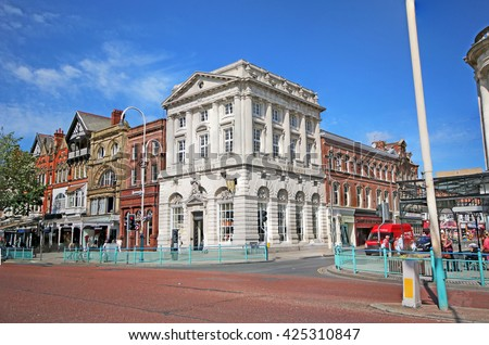 SOUTHPORT, UK - MAY 23, 2016: Victorian commercial building, Lord Street. Southport is a large seaside town in the Metropolitan Borough of Sefton, Merseyside, England - stock photo